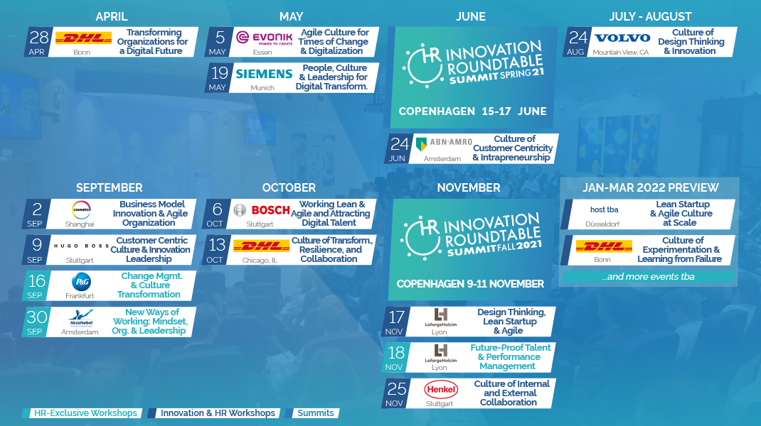 HR Innovation Roundtable Calendar Overview